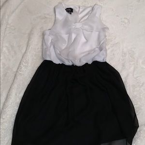 White and black bow dress